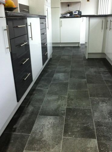 Black slate kitchen floor tiles wood floors for Black vinyl floor tiles