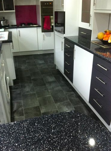 Cushion flooring in kitchen